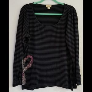 One World Black Grey Striped Breast Cancer Top